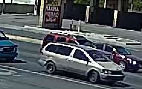 Police release pictures of a tan Toyota minivan with extensive damage operated by Richi Briones, 32, who is the suspect in a deadly stabbing Wednesday, April 19, 2017, in northeast Las Vegas. (LVMPD)