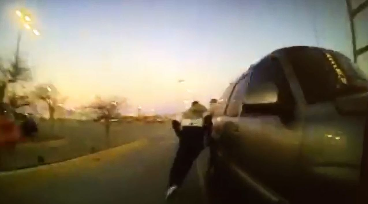 Body camera footage shows a foot pursuit and altercation between a reported theft suspect and Oklahoma City Police Department officers on Feb. 1. (Oklahoma City Police Department)