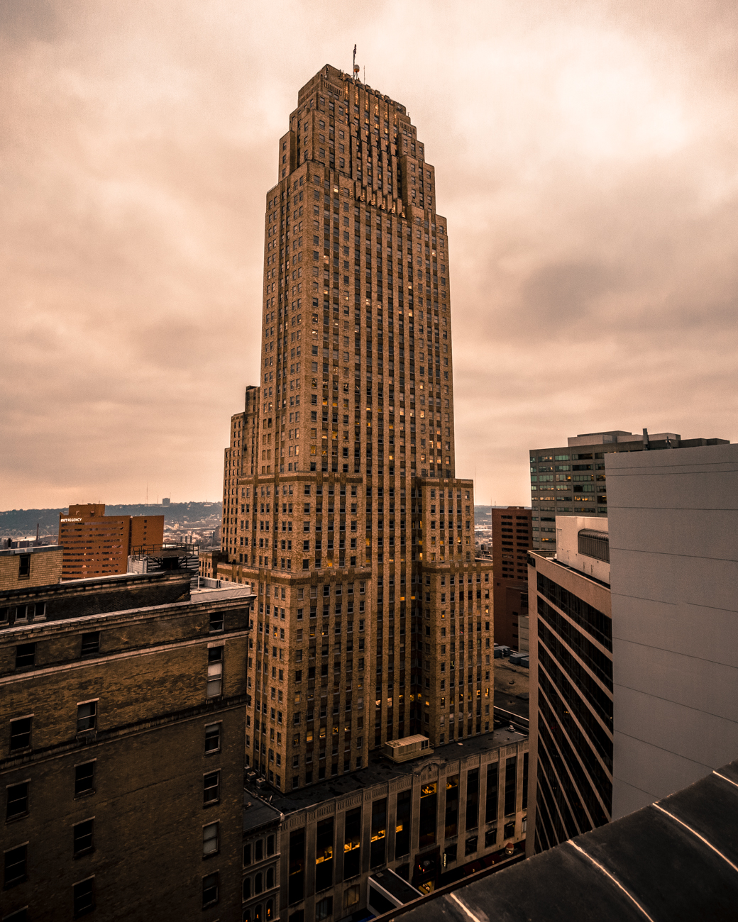 The windows in the hallways and guest rooms yield gorgeous views of Downtown. Pictured is the Carew Tower. / Image: Phil Armstrong, Cincinnati Refined // Published: 12.30.16
