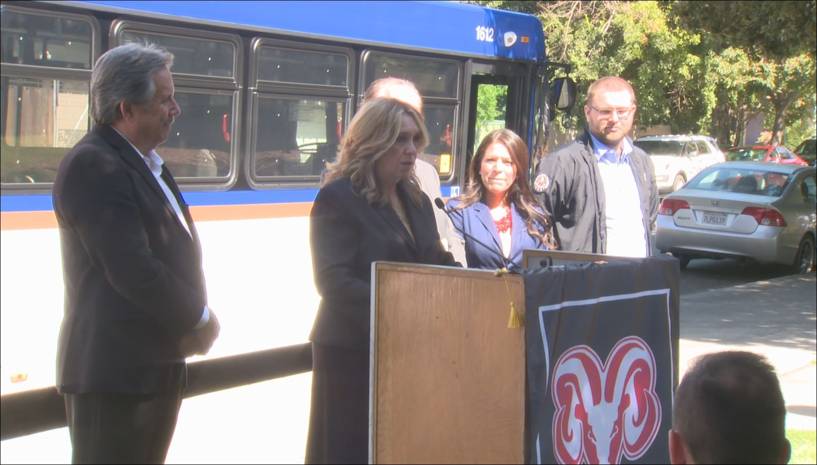 Fresno City College President Dr. Carole Goldsmith  speaking at the free bus pass announcement Tuesday morning (Photo FOX26)