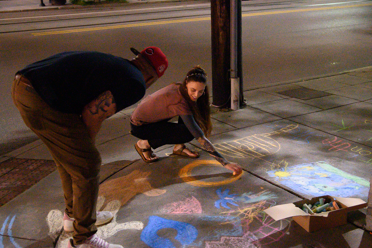 Artists and attendees covered the sidewalk at 12th and Jackson Streets with chalk art before going inside the theater for more. / Image: Cincinnati Refined // Published: 6.1.19