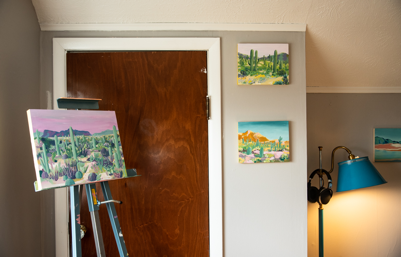Some of Laura's own artwork adorns her home studio, including these paintings inspired by a recent trip to the Southwest. / Image: Melissa Sliney // Published: 3.26.20<br><p></p>