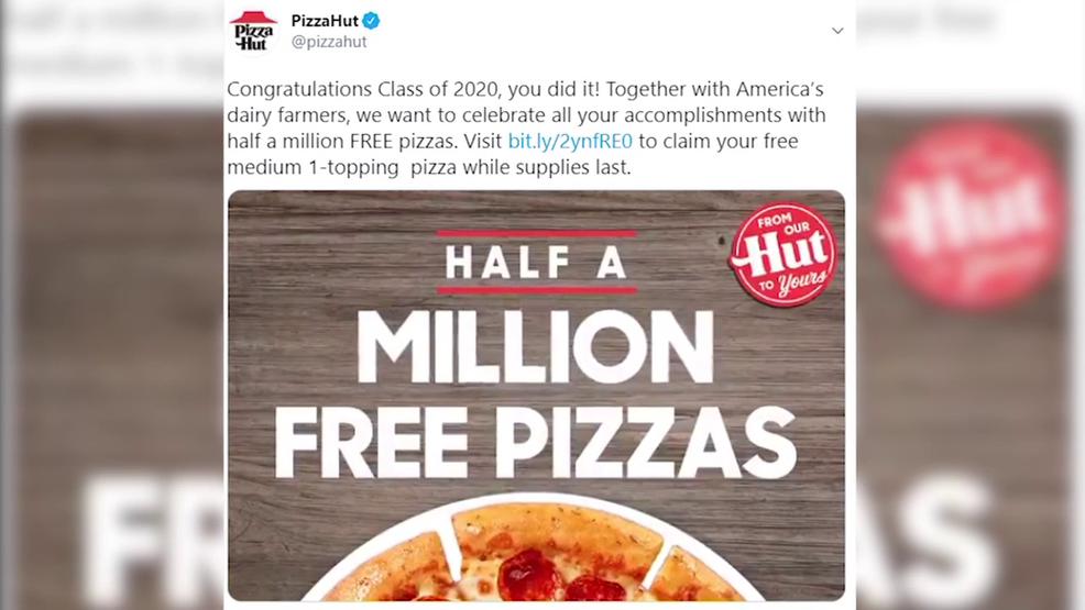Pizza Hut giving away half a million pizzas to celebrate class of 2020