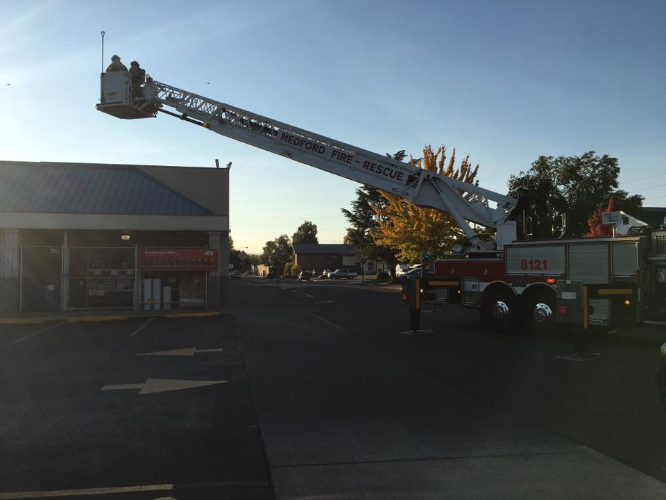 Smoldering HVAC unit causes fire at Ray's Market in Central Point. (Central Point Police Department)