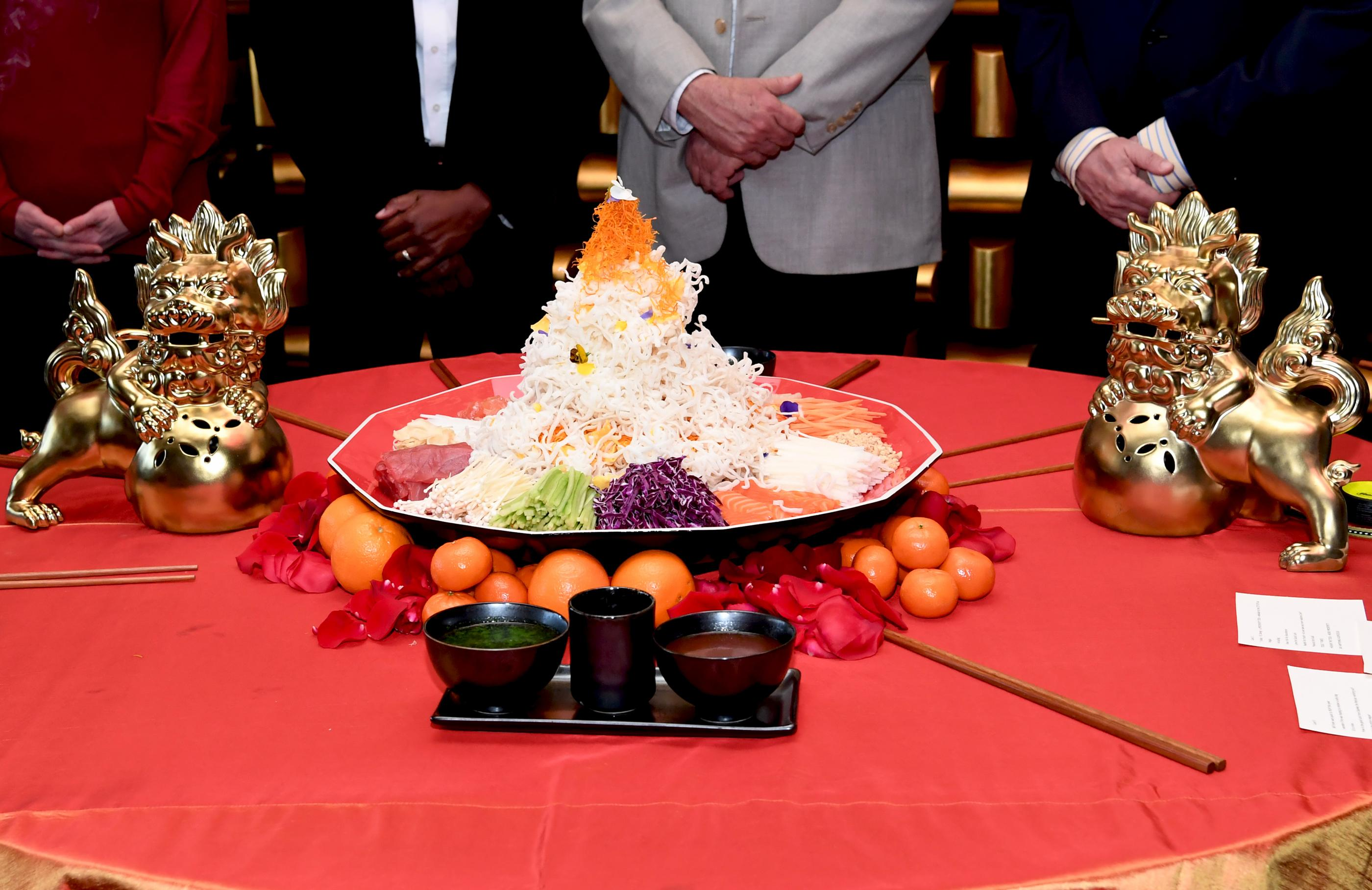 The Mandarin Oriental, Las Vegas celebrates the Chinese New Year, Year of the Dog with a special Yusheng Toss presentation. Thursday, February 15, 2018. CREDIT: Glenn Pinkerton/Las Vegas News Bureau
