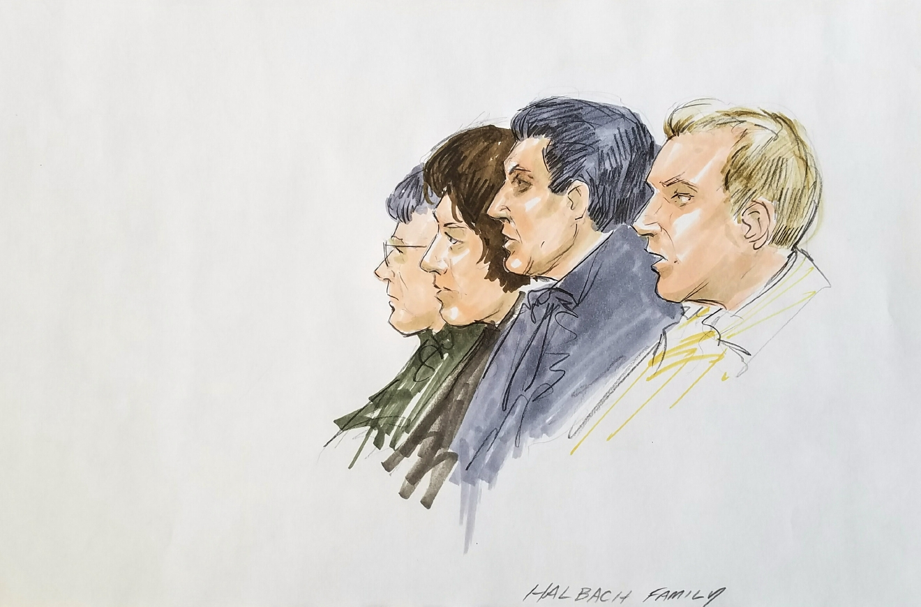 Relatives of Teresa Halbach listen to arguments in federal appeals court in Chicago, Tuesday, Feb. 14, 2017. (Sketch by Thomas Gianni)