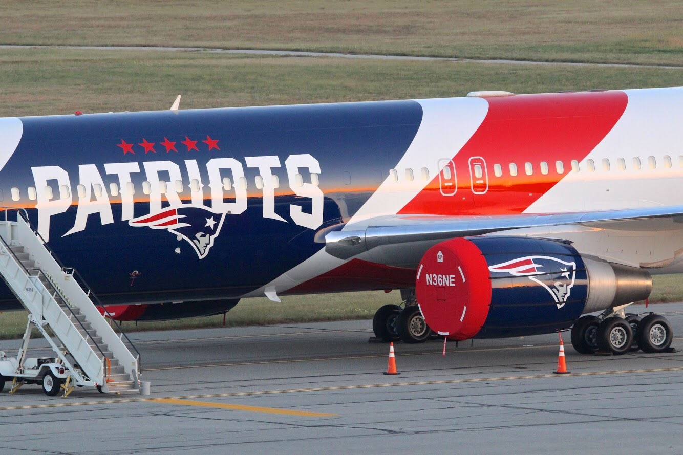 Cranston photographer David Rainone shot these pictures of the New England Patriots' plane at T.F. Green Airport in Warwick, Sunday, Sept. 24, 2017. (David Rainone)