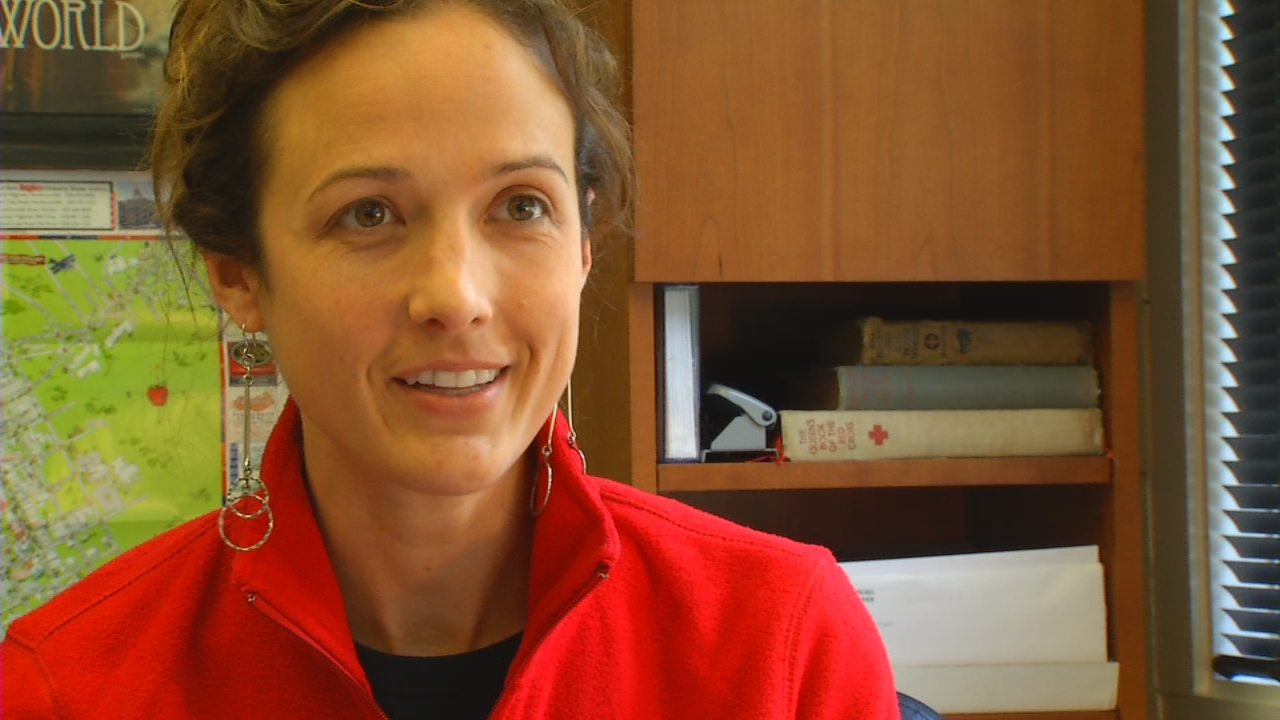 """We're asking people to be sure that they have an emergency kit ready to go. That includes everything from prescription medications to eye glasses, any special needs items that you have, and also flashlights,"" said Alli Trask, Asheville American Red Cross  executive director. (Photo credit: WLOS staff)"