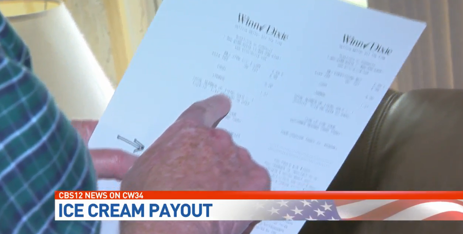 Man buys ice cream, gets thousands of dollars of cash from state. (Image: WPEC)