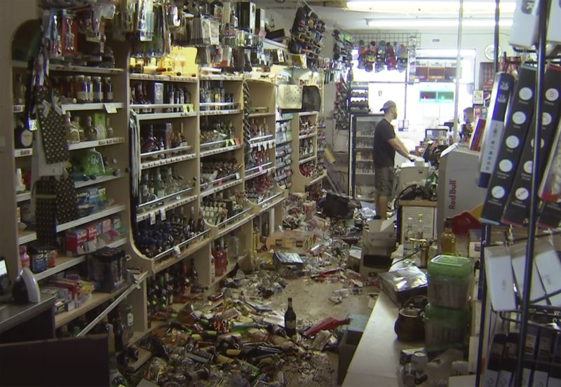 This still image taken from video shows bottles and debris on the floor of a liquor store as a result from the earthquake in Ridgecrest, Calif., on Saturday, July 6, 2019. The quake struck at 8:19 p.m. Friday and was centered 11 miles (18 kilometers) from Ridgecrest, the same area of the Mojave Desert where a 6.4-magnitude temblor hit just a day earlier. (AP Photo/APTN)